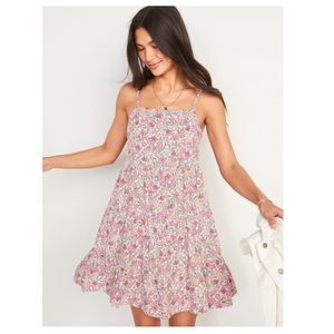 Sleeveless Tiered Floral-Print Swing Dress